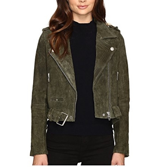 66ae65b864 Blank NYC Jackets & Blazers - BLANKNYC Suede Leather Moto Jacket olive green